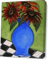 Red Sunflowers As Canvas