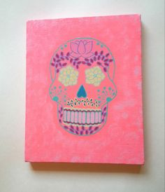 pink sugar skull acrylic canvas painting for girls by StarrJoy16