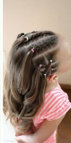 30 Super Cute Hairstyles For Little Girls - June 29 2019 at Easy Toddler Hairstyles, Girls Hairdos, Cute Little Girl Hairstyles, Baby Girl Hairstyles, Girl Haircuts, Girls Braids, Winter Hairstyles, Braided Hairstyles, Cool Hairstyles
