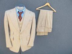 1960s SAVILE ROW 3 Piece Tweed Wool Suit Jacket Vest Pants