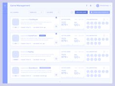 Game Management · List designed by Damian Hernandez for Crown & Mane. Connect with them on Dribbble; the global community for designers and creative professionals. Web Design, Flat Design Icons, Form Design, Site Design, Icon Design, Graphic Design, Interface Web, User Interface Design, Analytics Dashboard