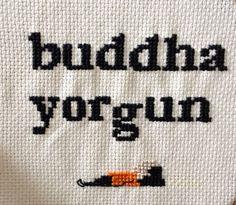 Buddha is exhausted🧘🏻♂️ #crossstitch #crossstitchpattern #crossstitchyoga #yogapattern
