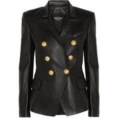 Balmain Black Leather Peaked Lapel Tailored Blazer Jacket ($3,985) ❤ liked on Polyvore featuring outerwear, jackets, blazers, black, peak lapel blazer, double breasted leather jacket, tailor leather jacket, shiny leather jacket and blazer jacket