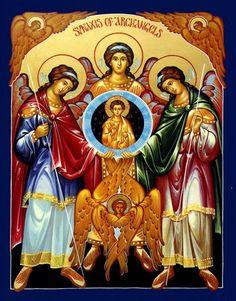 - Synaxis of Archangels Icon Religious Icons, Religious Art, Saint Joseph School, St Joseph, Religion, Byzantine Icons, Catholic Art, Advent Catholic, Guardian Angels
