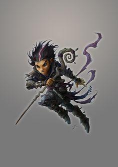 Gnome wizard sorcerer mage staff black purple hair