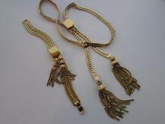 Vintage Monet Jewelry, Tassel Jewelry, Monet Chain Necklace, Monet Chain Bracelet, Gold Sliding Necklace Bracelet, Monet Signed Jewellery