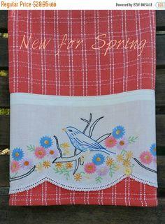 On Sale Vintage Towels Flower Garden Bluebird by TwoGirlsLaughing