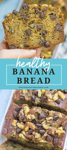 This Healthy Banana Bread Recipe is made with just a few simple, nutritious ingredients like applesauce, honey, whole wheat flour and coconut oil. Easy to make   full of flavor - it's perfect for breakfast or snacking! You can customize it to be gluten free or make it into muffins! It's moist, low sugar, low calorie and delicious! #bananabread #healthy #banana #dessert #chocolate