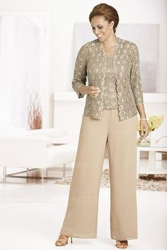 Pant Suits Strapless Ankle-length Chiffon Lace Mother of the Bride Dress