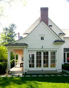 farmhouse side porch - love the doors
