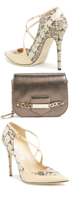 Jimmy Choo ~ 'Maverick' Snake embossed Leather Pump & Shadow Metallic Leather Crossbody Bag