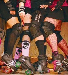 roller derby ... Maybe a waist down shot holding tote and skates at side of leg could be cool, or have badges pinned to long socks? Just an idea :)