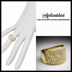 """RING 14k Gold Plated Pave Crystal Glam Cocktail NEW WITH TAGS  Retail: $98 14k Gold Plated Pave Chinese Crystal CZ Diamond like Sparkly Statement Band Ring  * Gorgeous gold-tone setting.   * Beautiful pave set Chinese crystal stones.  * Ring face measures about .50"""" H x 0.75"""" W  * Size 5; Made in the USA. ***Avoid chemicals, lotions, moisture, & perfumes.  Material: 14k Gold plated brass, Chinese crystals; Semi-Precious Item:  No Trades ✅Offers Considered */Bundle Discounts✅ *Please use…"""