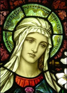 Anitque stained glass window (Mother of God)