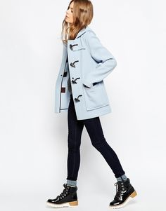 Image 4 ofGloverall Short Duffle Coat in Sky Blue