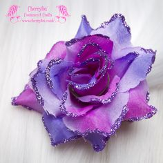 Purple Rose Hair Clip with purple glitter detailing. This set is ready to ship now, dispatches within 2 working days of cleared payment. -- Pair of clips (2) -…