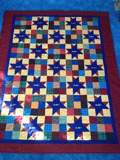 My crown royal quilt in flannels With blue around it I think looks better takes away from purple but looks better ;-$