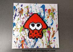 Inkling Squid Perler on Splatter Paint Canvas by NomDePixel