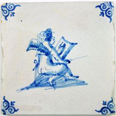 Dutch Delft tile in blue with Cupid (Amor) painting.