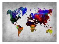 World Watercolor Map 12 Impressão artística