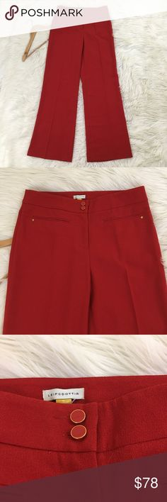"Anthropologie Leifsdottir Halyard Crepe Pants NEW Anthropologie Leifsdottir Womens Sz 6 Halyard Wide Leg Crepe Trouser Pants  • Red  • Gorgeous  • Mid rise  • Does not have Anthropologie tag, but still has the extra button package attached to the tag from the store. No flaws.  Waist flat: 16""  Inseam: 32""  Rise: 10"" 📌NO lowball offers 📌NO modeling 📌NO trades  Come check out the rest of my closet! I have various brands and ALL different sizes! Anthropologie Pants Wide Leg"