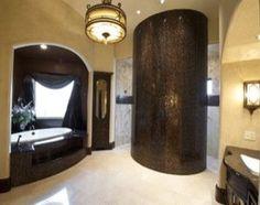 Gaillardia show home - traditional - bathroom - oklahoma city - Rick Hoge Dream Bathrooms, Beautiful Bathrooms, Luxurious Bathrooms, Pinterest Bathroom Ideas, Walk In Shower Designs, Curved Walls, Bronze, Traditional Bathroom, Bathroom Inspiration