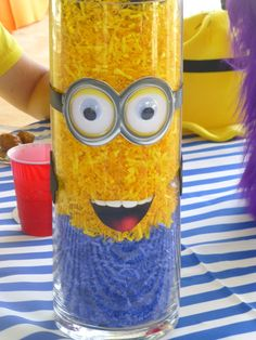 Fun decor at a Minions Birthday Party!  See more party ideas at CatchMyParty.com!  #partyideas #minion