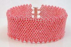 Bright Pink Beadwoven Bracelet by mostlybeads on Etsy
