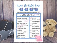 Have a blast with this baby boy elephant shower game of Name The Baby Tune. This is a printable template for a baby shower in blue and black with a cursive font and a elephant theme. Custom color options available upon request with an added fee. Reach out to me prior to purchasing