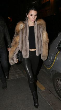 Kendall Jenner wearing Balenciaga Leather Leggings, Saint Laurent Monogramme Small Suede Tassel Crossbody Bag and Balmain Nina Leather Ranger Booties