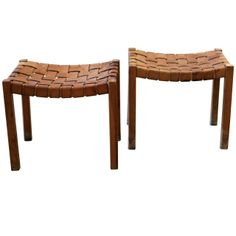 1stdibs | A Pair of Leather Strapped Stools, Denmark 1950