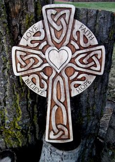 Celtic carved wooden cross rustic Love Faith by CarvedArtStudio511