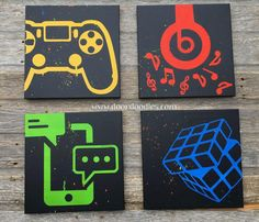 Custom canvas wall art featuring social media icons video games music silhouette your choice customizable! smaller size - - Ideas of - Custom canvas wall art featuring social media icons video games music silhouette your choice cus Gamer Bedroom, Kids Bedroom, Bedroom Decor, Bedroom Wall, Bedroom Ideas, Wall Decor, Bedroom Furniture, Bedroom Canvas, Bedroom Images