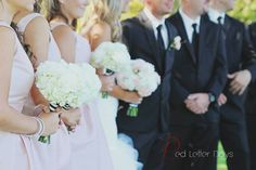 Blush Pink and White wedding floral. White Hydrangea, White Carnations and Blush Pink Garden Roses.