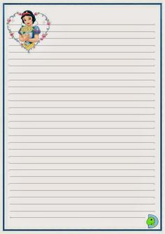 Disney Writing, Mickey Mouse, Lilo E Stitch, Writing Paper, Snow White, Printables, Notes, Journal Ideas, Notebooks