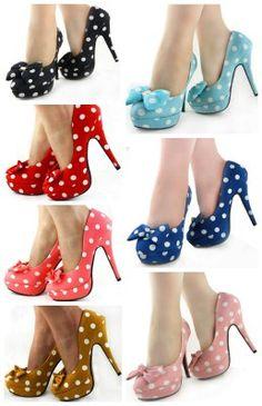polkadot heel with bow, so cute! fashionable, retro, cute shoes