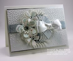 The Botanical Builder Framelits are used to create a white-on-white wedding/anniversary card with metallic accents and rhinestones. PPA294 Sketch challenge