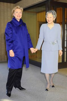 Secretary of State Hillary Clinton visits Japan (pictured with Empress Michiko)