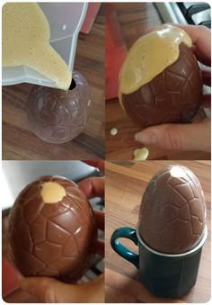 An easter egg, filled with angel delight, making the greatest easter egg of all time. Angel Cake, Angel Food Cake, Almond Jelly, Angel Delight, Scotch Eggs, Easter Cupcakes, Easter Chocolate, Egg Recipes, Easter Eggs