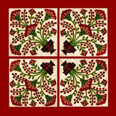 Sue Garman Four rose fan blocks. I own pattern.