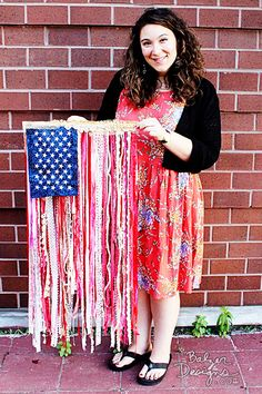 DIY Ribbon Flag Tutorial by Balzer Designs Patriotic Crafts, July Crafts, Holiday Crafts, Patriotic Party, Diy Ribbon, Ribbon Crafts, American Flag Quilt, Happy Fourth Of July, July 4th