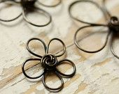 Wire Flowers Solid Brass Mix Assorted - Sm, Med, Lg - Handmade Wirework Connector, Charm, or Pendant