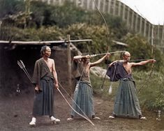 Japanese Archers, circa 1860 - Realistically colorized historical photos make the past seem incredibly real