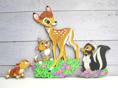 Woodland Nursery Decor  Bambi and Friends by LoveButlerVintage, $16.00 - totally had these hanging in my room as a kid...