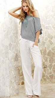 Khaki linen pants with white tank and scarf | Summer - things to ...