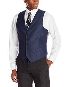 Perry Ellis Men's 5 Button Suit Separate Vest, Blue, Small Perry Ellis