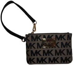Women's Michael Kors Small Wristlet Jet Set Signature Logo Jacquard Beige/Black/Black