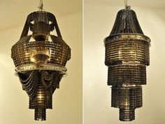 Amazing Chandelier Designs: Old bicycle chains chandelier - Eco-artist Carolina Fontoura based in Mexico has created these beautiful chandeliers and other light fixtures from a very different material – recycled bicycle chains and other parts. These antique looking chandeliers are although heavy in weight due to the material used but looks quite delicate and elegant as a room accent. | #Lamps #Lighting #Chandeliers #InteriorDesign |