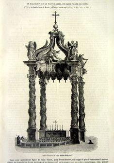 1843 oeuvre vintage curieux baldaquin dimpression, Baldacchino du Bernin original en gravure de St Peter, objet dart religieux de bizarrerie