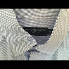 Blunauta Mens size 41 dress shirt. Great quality! This like new high quality , sexy dress shirt is a great summer color blue . Looks great on ! Worn once , just back from dry cleaners !!! Clean, smoke free home . Price FIRM , this is a deal ‼️ Shirts Casual Button Down Shirts